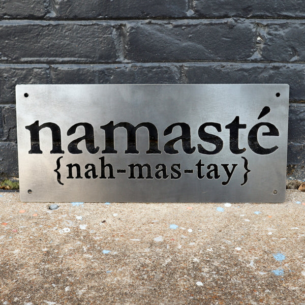 Namaste Welcome Sign - Yoga Studio Meditation Metal Decor