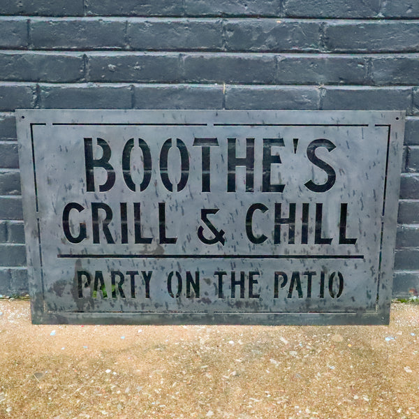 Personalized Metal Family Grill and Chill Sign - Outdoor Last Name Patio Bar Decor - Man Cave, Clubhouse Wall Art
