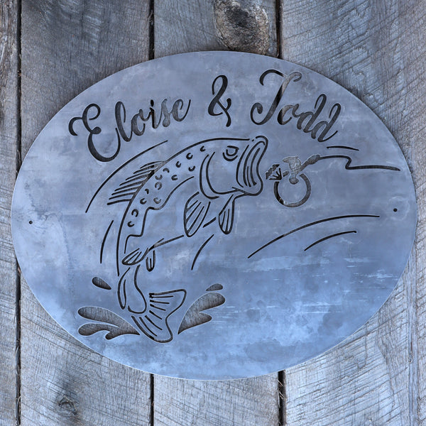 Personalized Romantic Fishing Sign - Engagement Metal Wall Art - Custom Names Home Decor