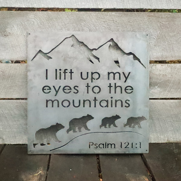 I lift up my Eyes to the Mountains Metal Sign - Inspirational Bible Quote Wall Art - Rustic Religious Home Decor