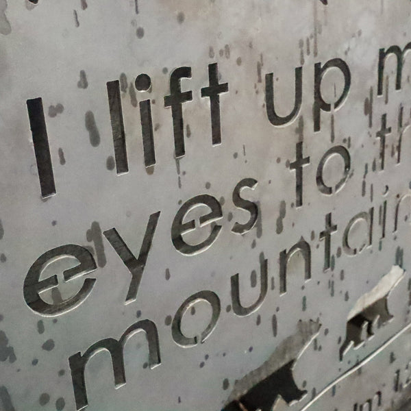 I lift up my Eyes to the Mountains and Bears Metal Sign - Inspirational Bible Quote Wall Art - Rustic Religious Home Decor