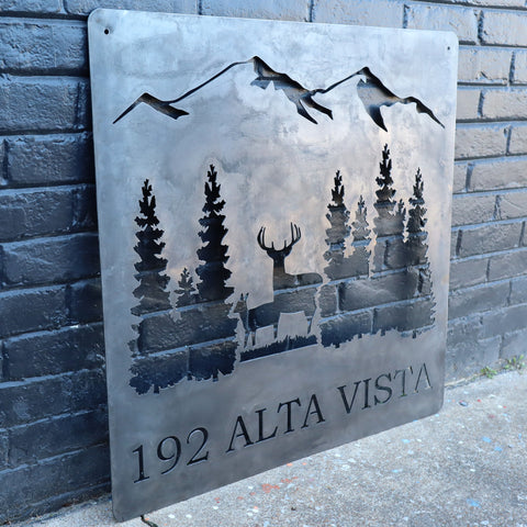 Personalized Rustic Address Metal Sign - Forest and Deer Wall Art - Mountain Decor