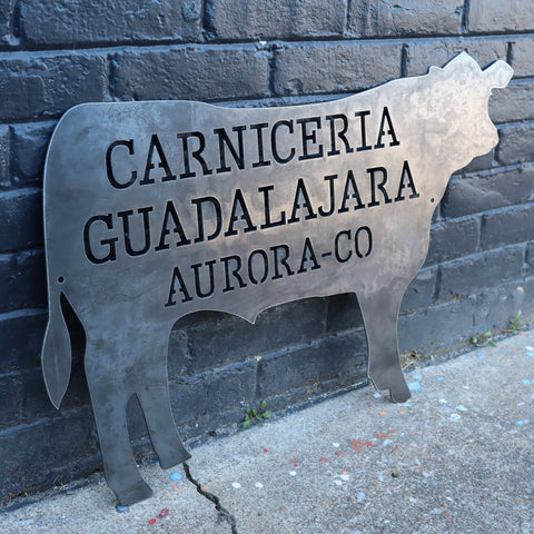 Personalized Metal Beef BBQ Sign - Kitchen Cow Decor - Butcher Shop, Steer Wall Art