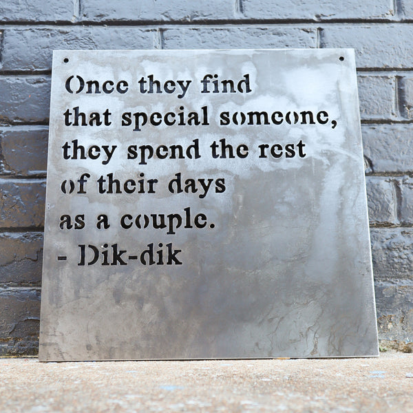 Personal Quote Wedding Sign - Personalized Metal Rustic Decor - Custom Words Wall Art