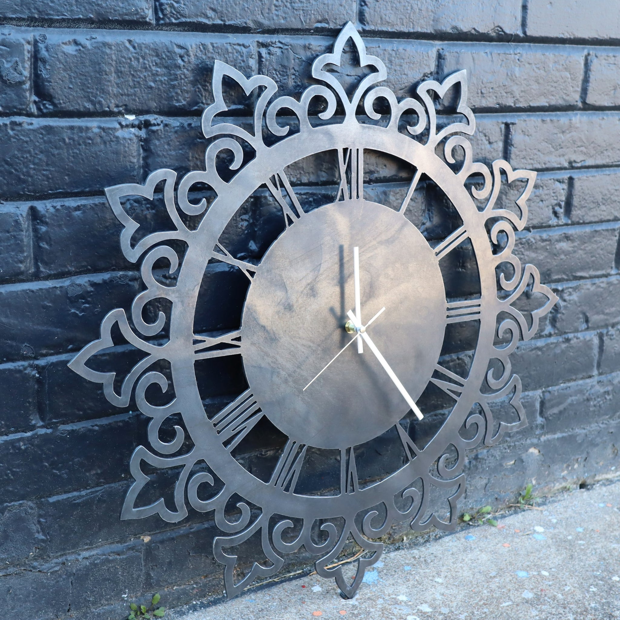 "Vintage Metal Clock - Rustic Home Wall Art - 24"" Diameter with Roman Numerals"