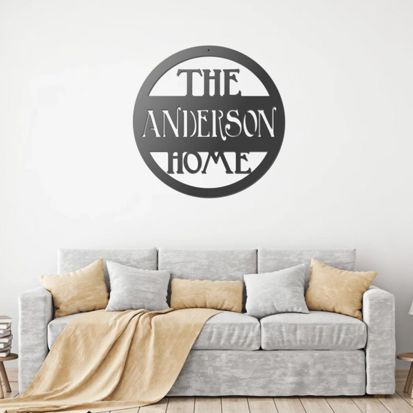 Personalized Metal Home Sign - Wedding Gift - Last Name Family Wall Art - 11th Anniversary Steel