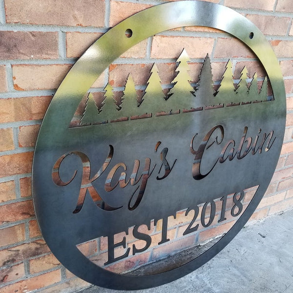Scenic Alpine Round Sign - Custom Metal Sign, Personalized, Est. Sign, Wedding Gift
