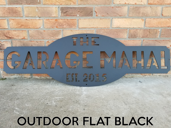 Custom Metal Sign - Personalized Last Name Wall Art - Garage, Workshop, Man Cave Decor