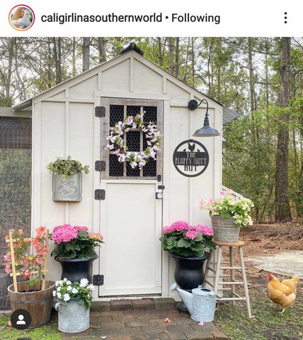 Rustic Chicken Coop Sign, Fluffy Butt Hut, Garden Sign - Personalized