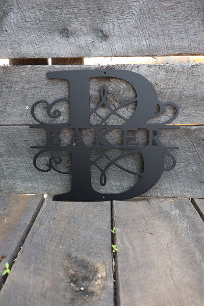Metal Split Monogram Wall Art - Custom Last Name Initial Sign
