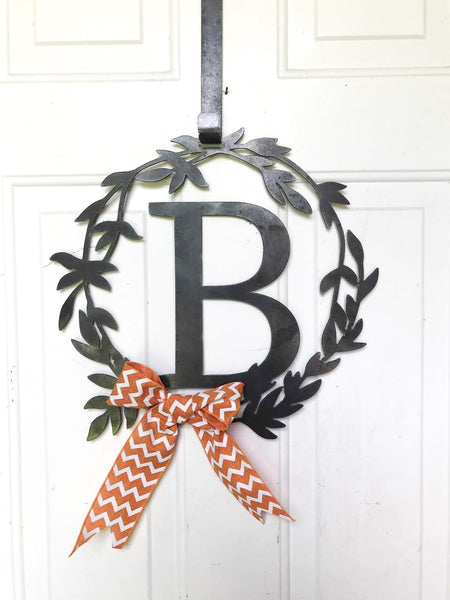 Best Wedding Gift 2019 - Custom Metal Monogram Summer Wreath - Initial Letter Front Door Hanger Decor