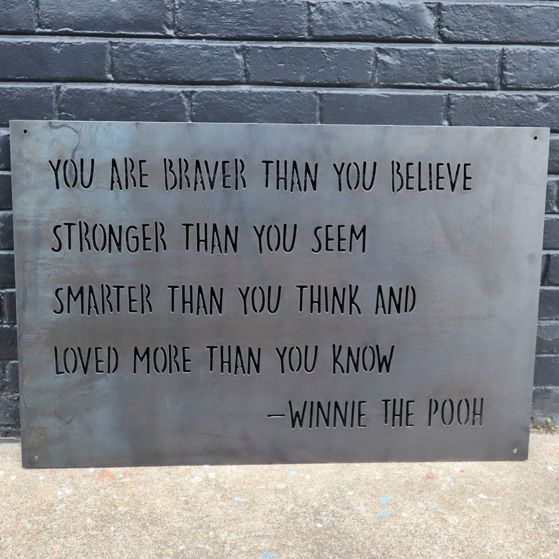 Metal Winnie the Pooh Nursery Sign - Kids Room Quote Wall Art