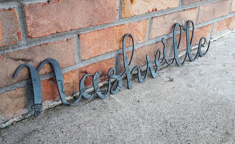 Rustic Nashville Sign - Cursive Metal