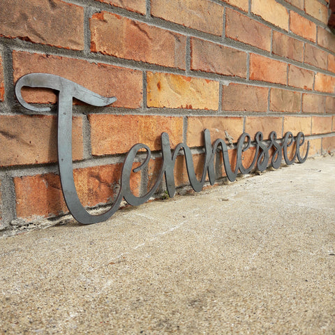 Metal Tennessee Sign - Cursive Word Wall Decor - Volunteer State Art