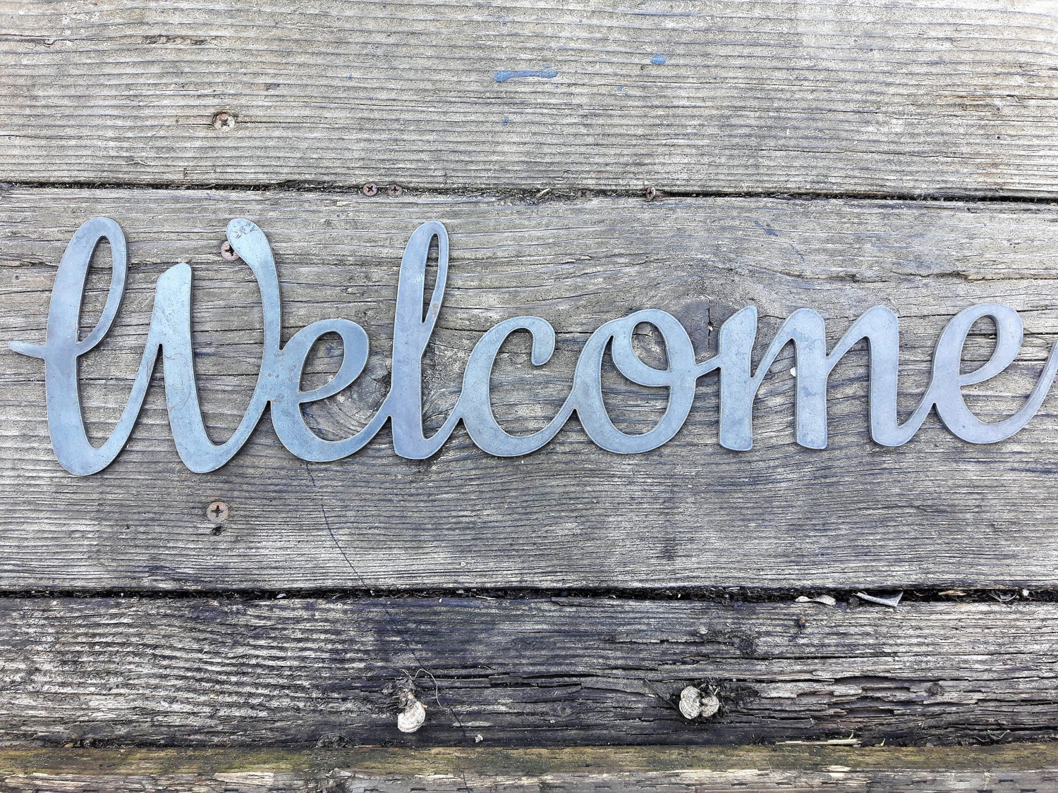 Metal Welcome Sign - Front Door Porch Decor - Wedding Wall Art - Entryway Leaner Decor