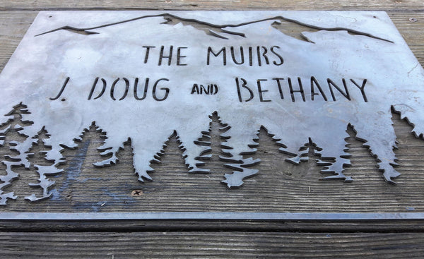 Personalized Metal Family Name Sign - Woods, Mountains, Trees, Forest Wall Art