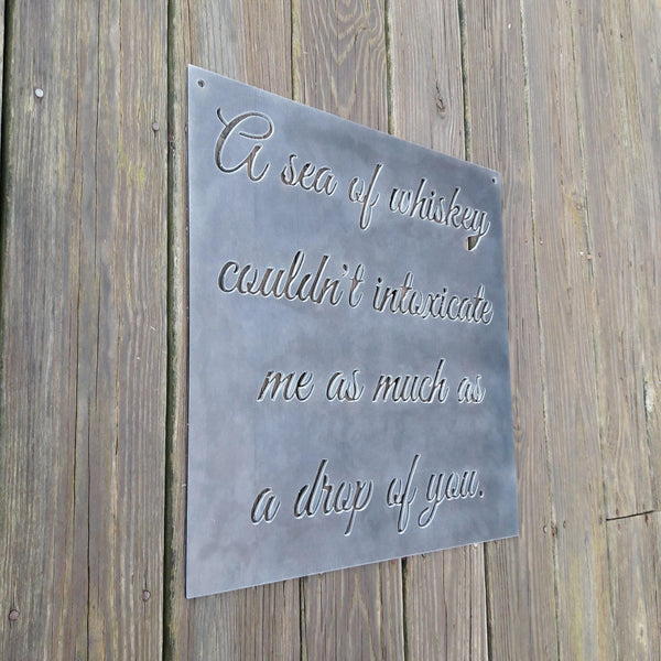 Personal Romantic Quote Sign - Personalized Wedding, Anniversary Metal Decor - Cursive Words Wall Art