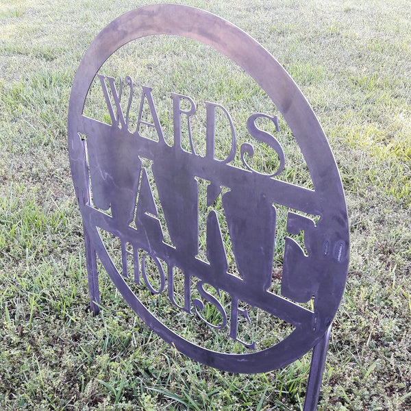 Metal Planter Sign - Personalized Metal Lake House Address with Stakes