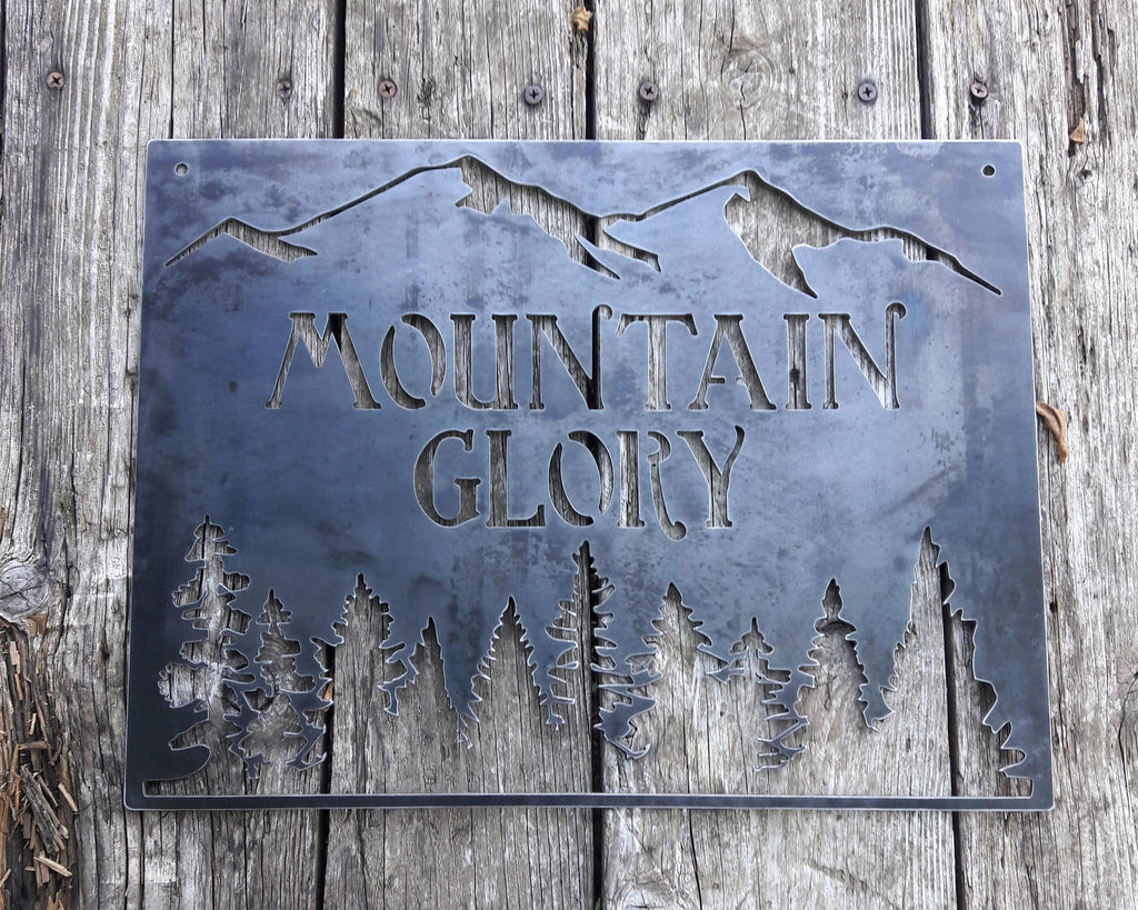 Personalized Metal Mountain Sign Tree House Clubhouse Wall Art Cabin