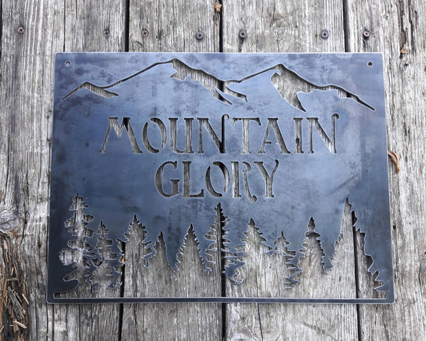Personalized Metal Mountain Sign - Cabin, Tree House, Clubhouse Wall Art - Mountains, Pine Trees