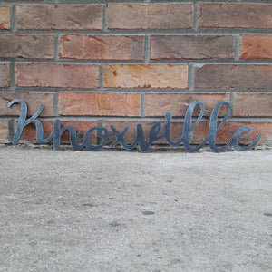 Metal Knoxville Sign - Cursive Word Wall Decor - Tennessee Art