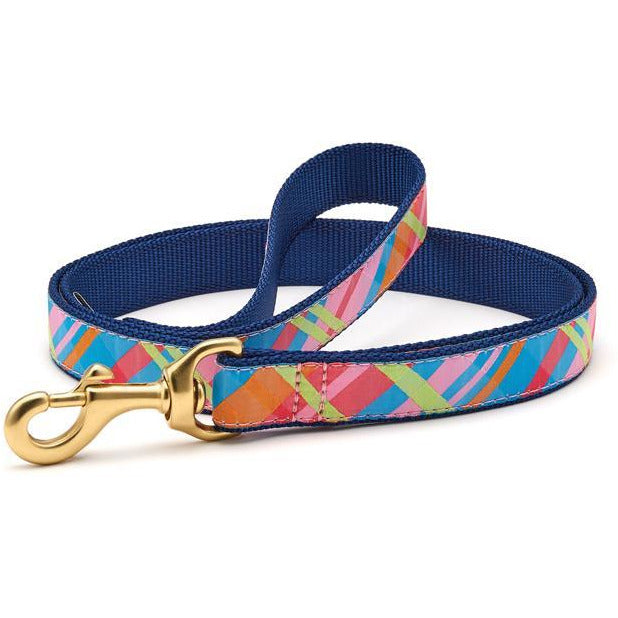 Up Country Pink Madras Dog Leash, 6-ft