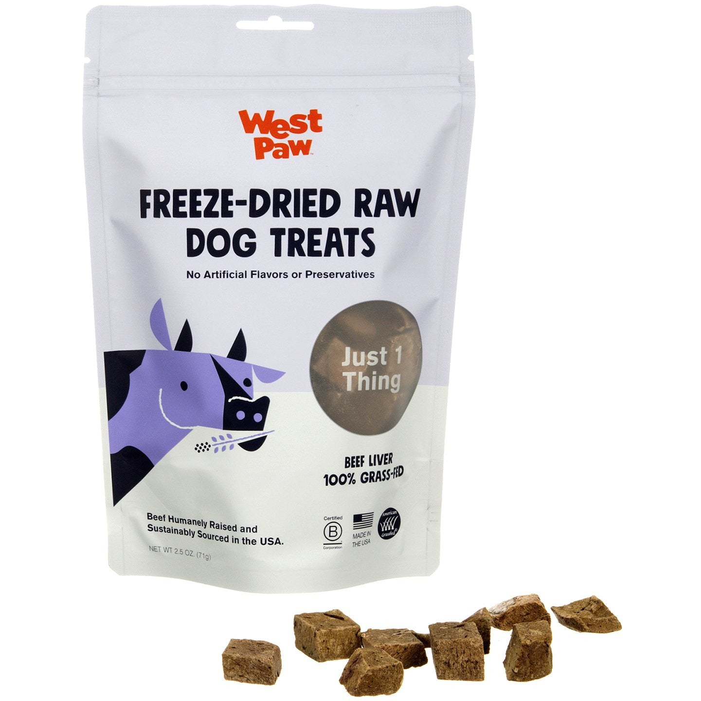 West Paw Freeze-Dried Beef Liver Dog Treat, 2.5-oz
