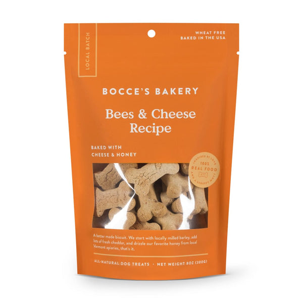 Bocces Bakery Small Batch Bees & Cheese Recipe Dog Treats 8-oz Bag - Dog Treat