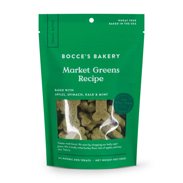 Bocce's Bakery Small Batch Market Greens Recipe Dog Treats, 8-oz Bag - Cleaner Tails
