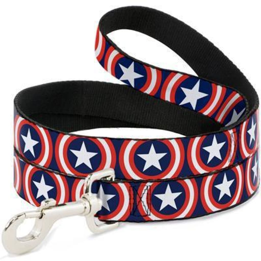 Buckle-Down Captain America Dog Leash, 4-ft - Cleaner Tails