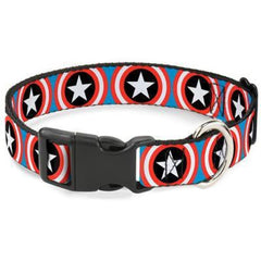 Buckle-Down Captain America Shield Navy Dog Collar - Cleaner Tails