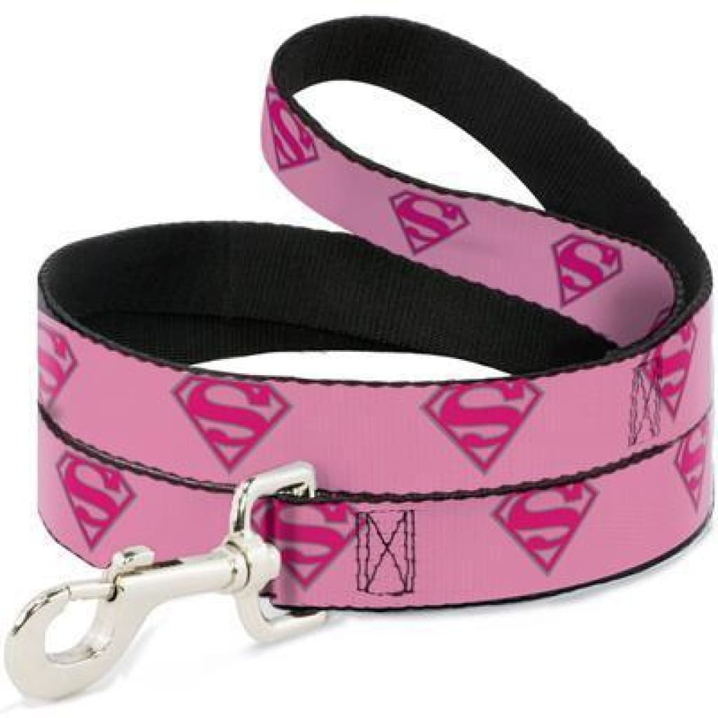 Buckle-Down Pink Superman Dog Leash, 4-ft - Cleaner Tails