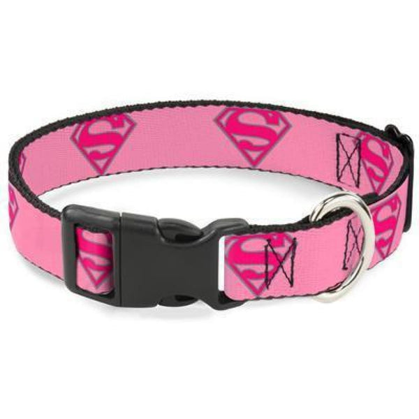 Buckle-Down Superman Shield Pink Dog Collar - Cleaner Tails