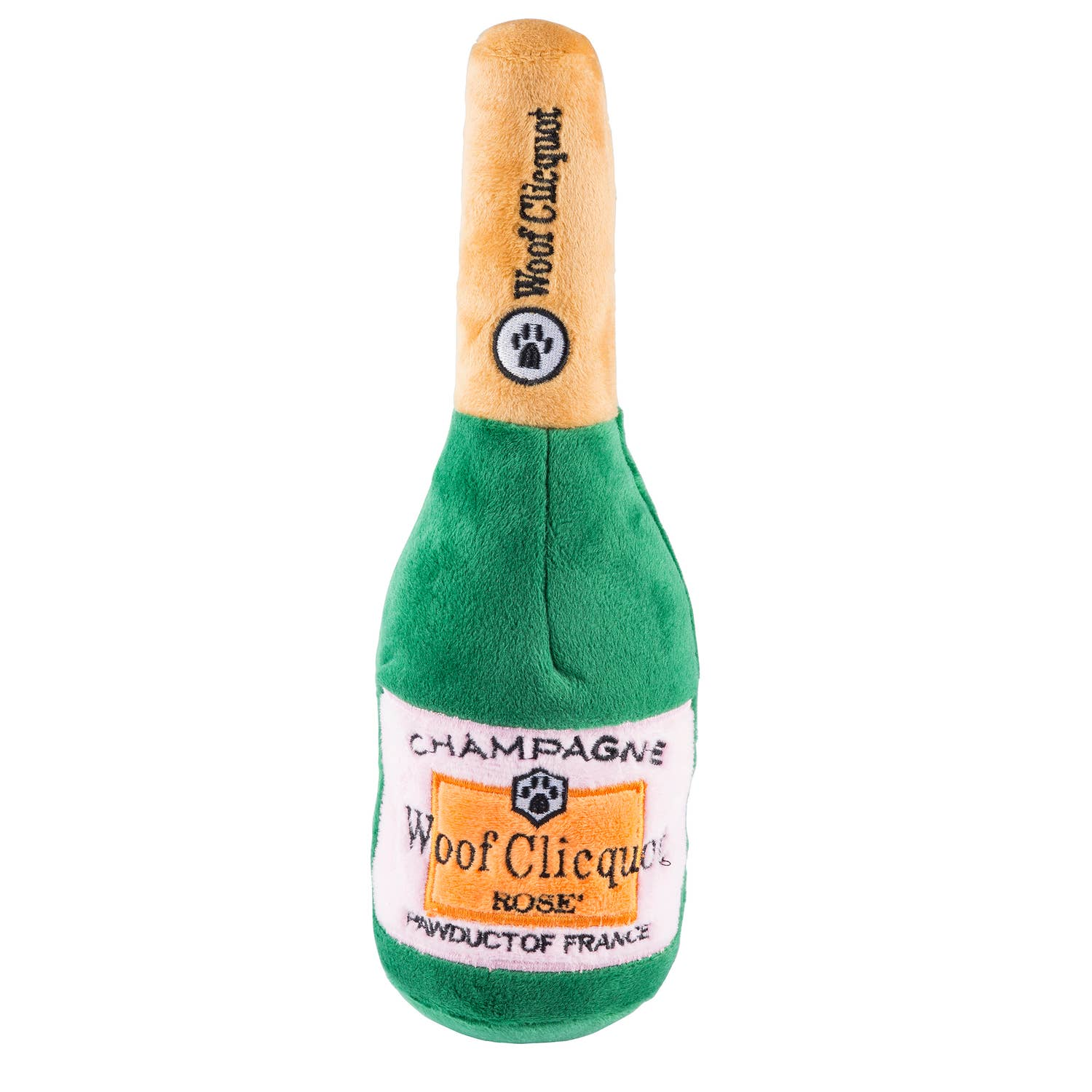 Woof Clicquot Rose' Champagne Bottle Dog Toy