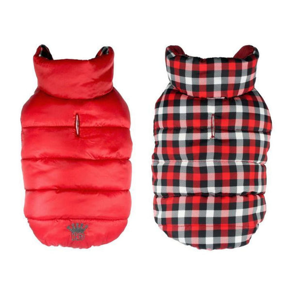 Hip Doggie Gingham Reversible Puffer Vest-Red - Cleaner Tails