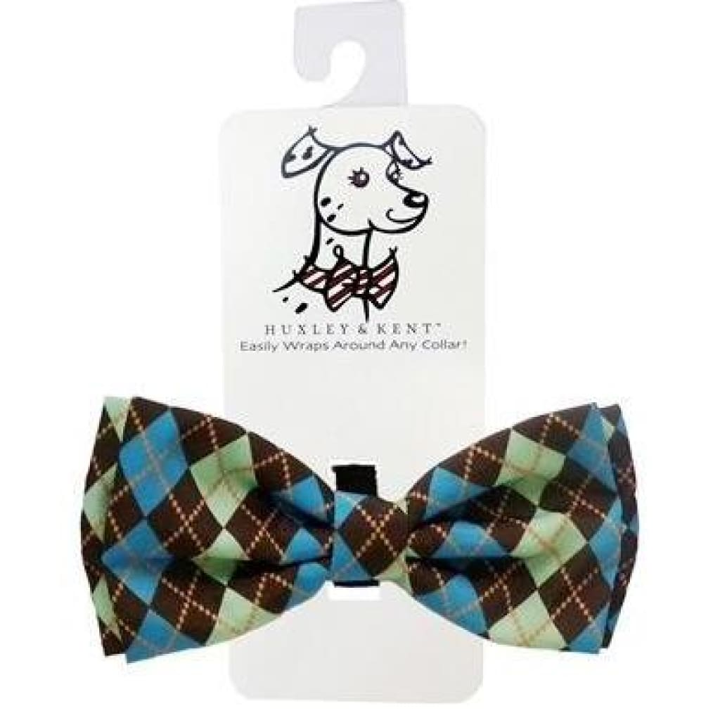Huxley & Kent Teal Argyle Bow Tie - Cleaner Tails