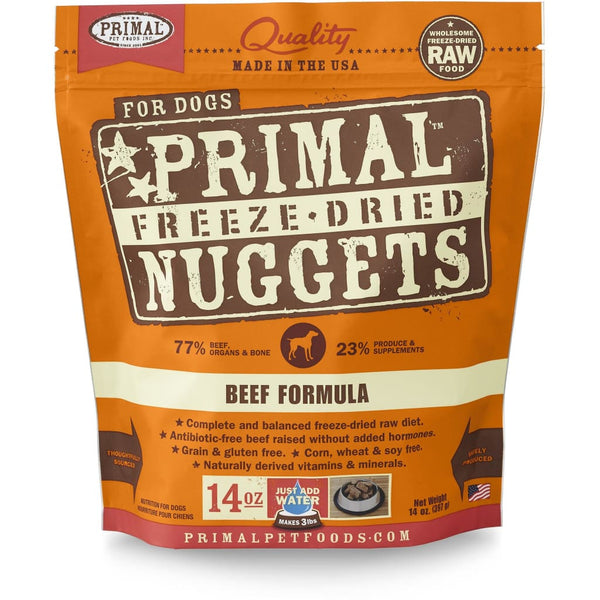 Primal Beef Formula Nuggets Grain-Free Raw Freeze-Dried Dog Food - Cleaner Tails