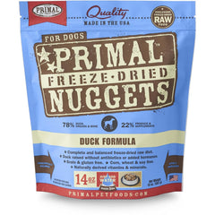 Primal Duck Formula Nuggets Grain-Free Raw Freeze-Dried Dog Food - Cleaner Tails