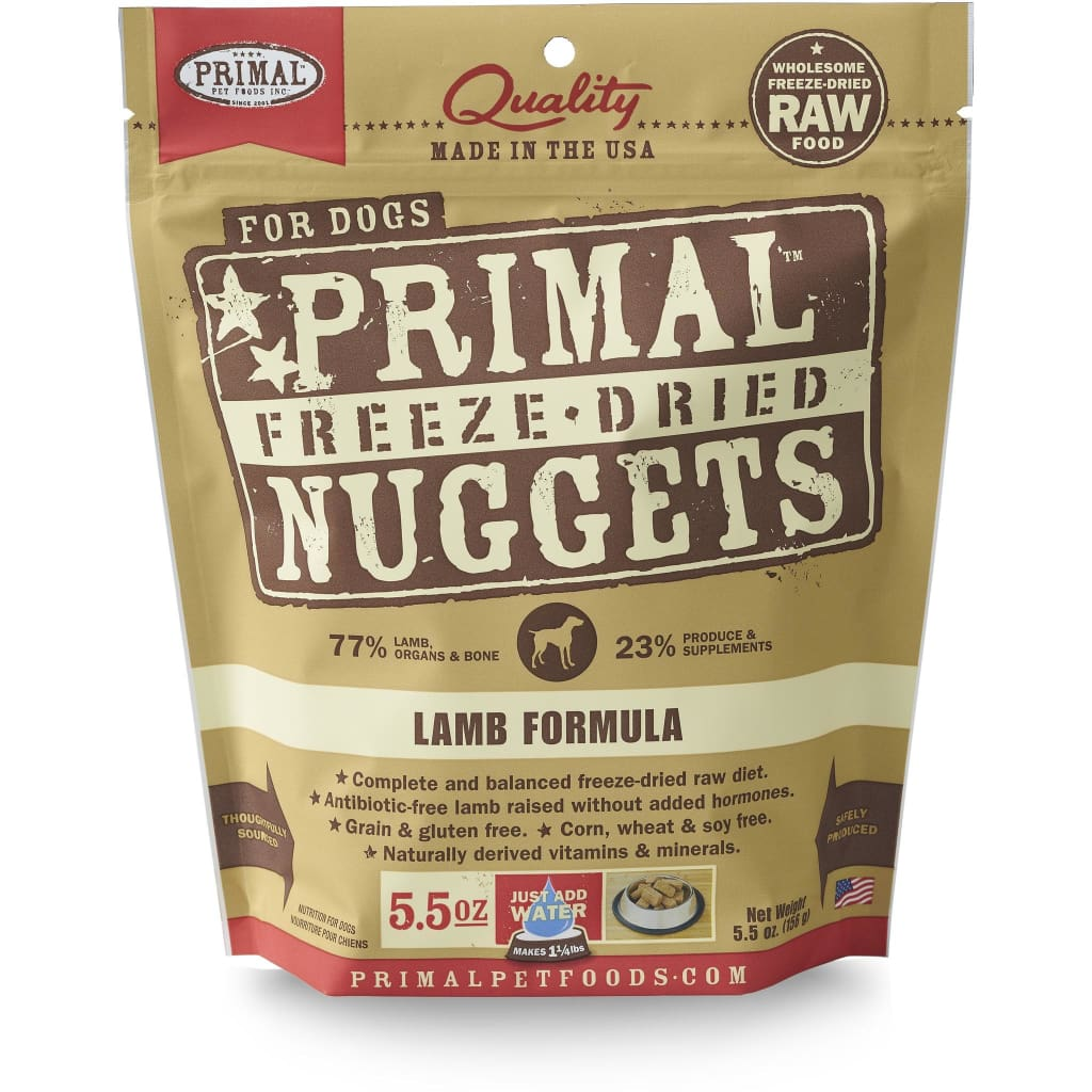 Primal Lamb Formula Nuggets Grain-Free Raw Freeze-Dried Dog Food - Cleaner Tails