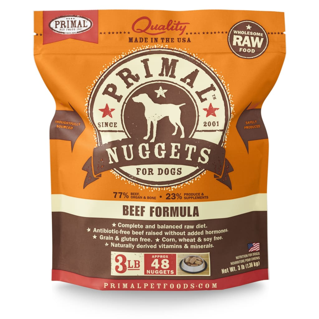 Primal Pet Foods Raw Frozen Canine Beef Formula Nuggets, 3-lb bag - Cleaner Tails