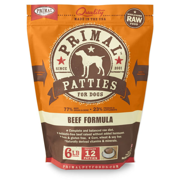 Primal Pet Foods Raw Frozen Canine Beef Formula Patties, 6-lb bag - Cleaner Tails