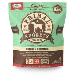 Primal Pet Foods Raw Frozen Canine Chicken Formula Nuggets, 3-lb bag - Cleaner Tails