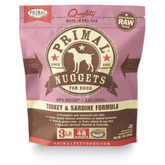 Primal Pet Foods Raw Frozen Canine Turkey & Sardine Formula Nuggets, 3-lb bag - Cleaner Tails