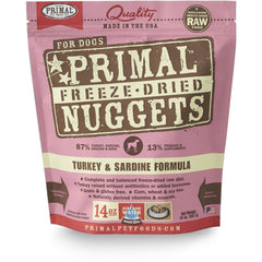 Primal Turkey & Sardine Formula Nuggets Grain-Free Raw Freeze-Dried Dog Food - Cleaner Tails