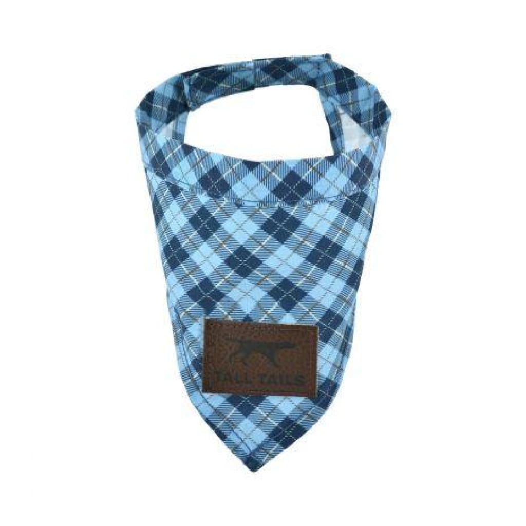 Tall Tails Blue Plaid Bandana For Dogs - Cleaner Tails