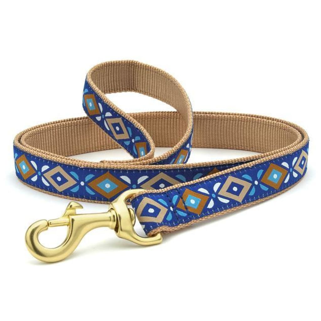 Up Country Aztec Blue Dog Leash, 6-ft - Cleaner Tails