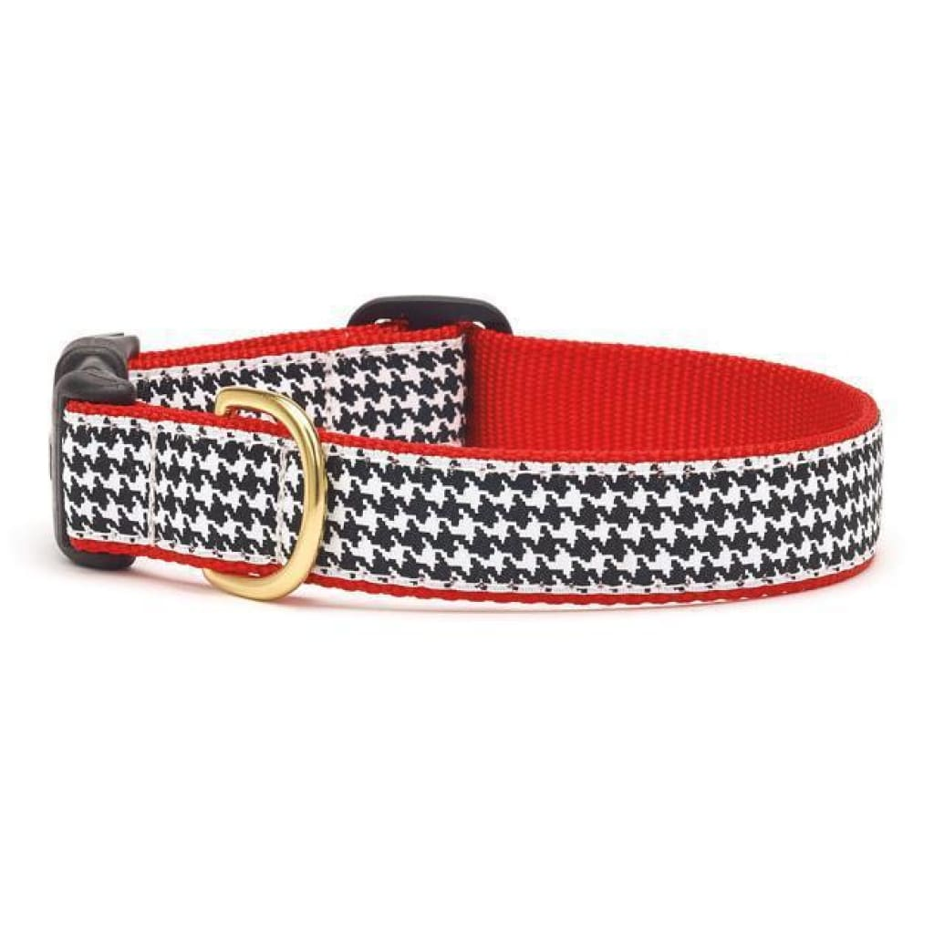 Up Country Classic Black & White Houndstooth Dog Collar - Cleaner Tails