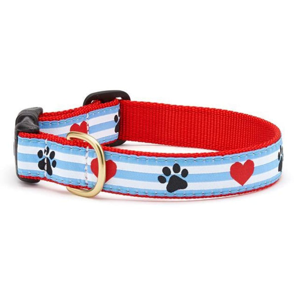 Up Country Pawprint Stripe Dog Collar - Cleaner Tails