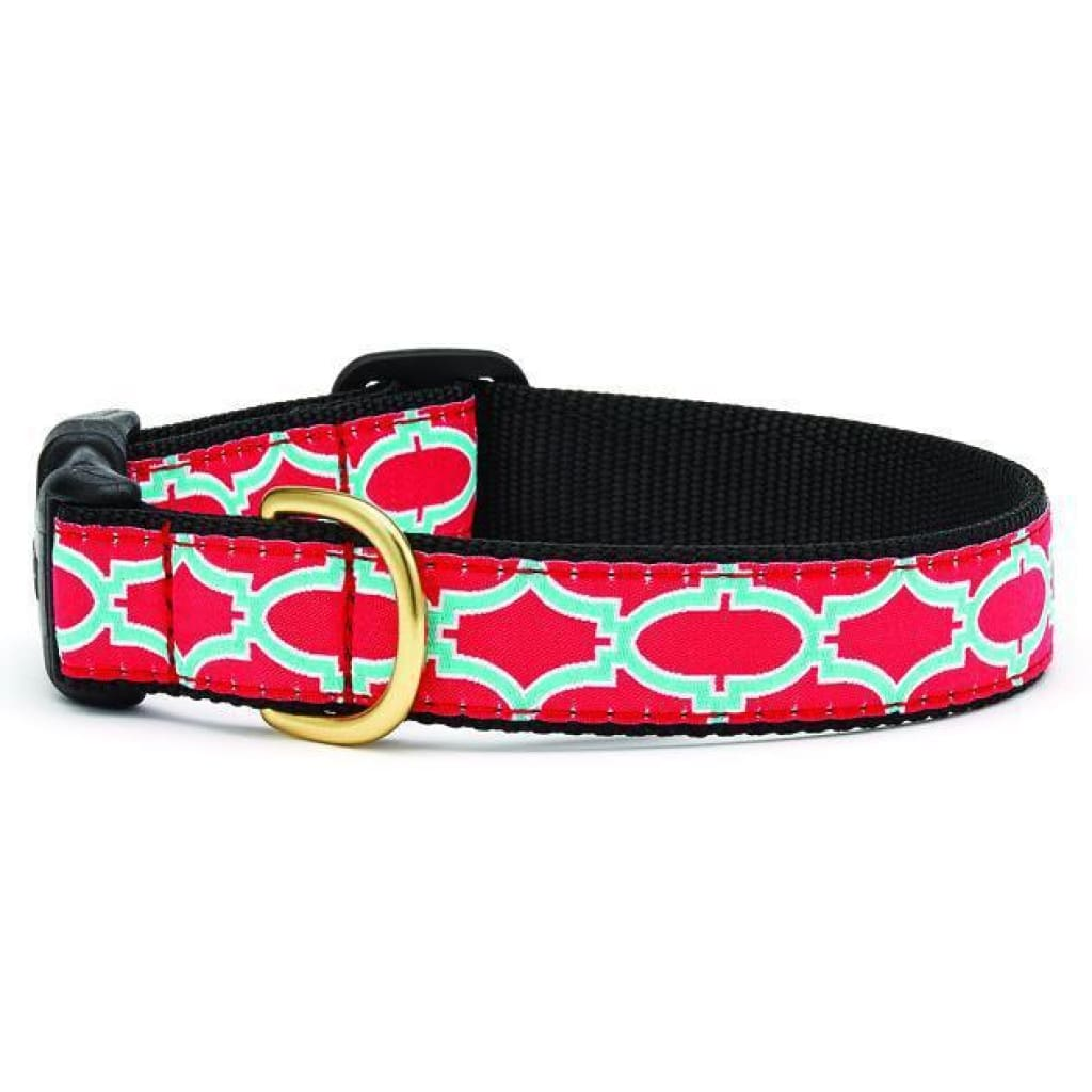 Up Country Pink Fretwork Dog Collar - Cleaner Tails