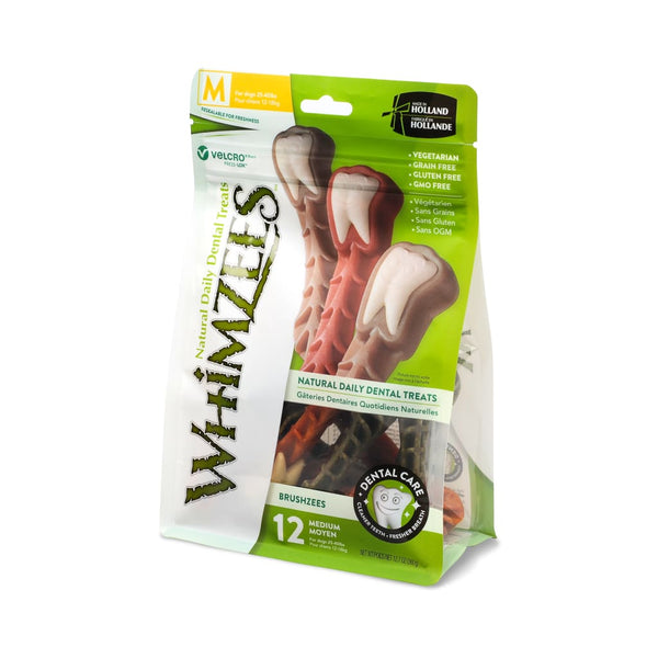 Whimzees Brushzees Natural Daily Dental Dog Chew - Medium 12 Count - Dental Chew